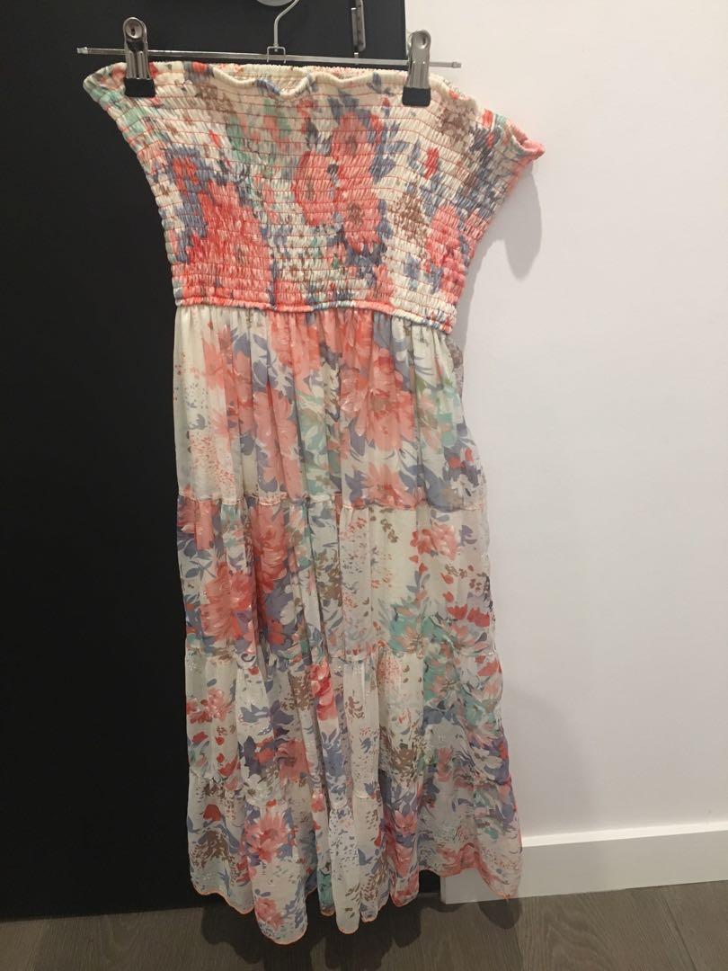 Romantic Floral Strapless Dress - Size 10