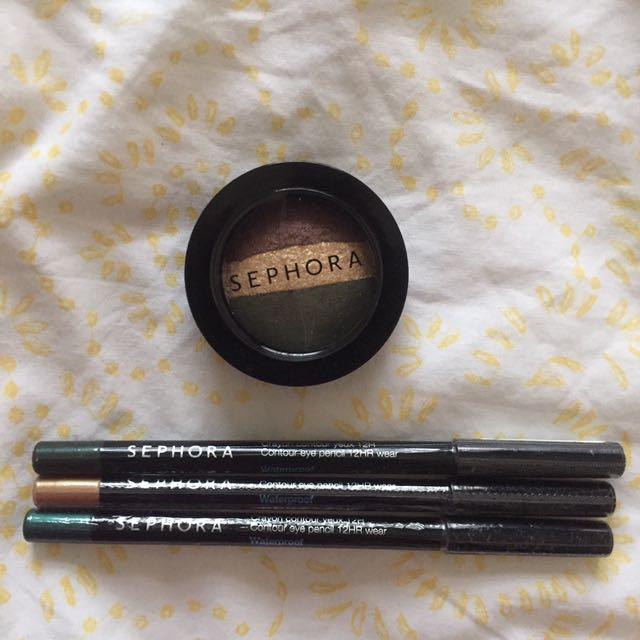 Sephora Eye Pencils and Eyeshadow Trio