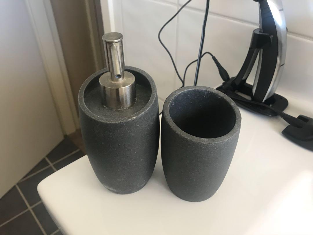 Stone Tumblr & Soap Dispenser