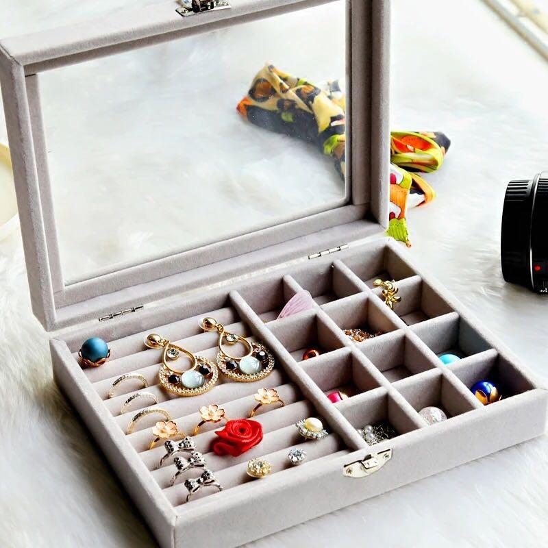 Suede grey jewellery box
