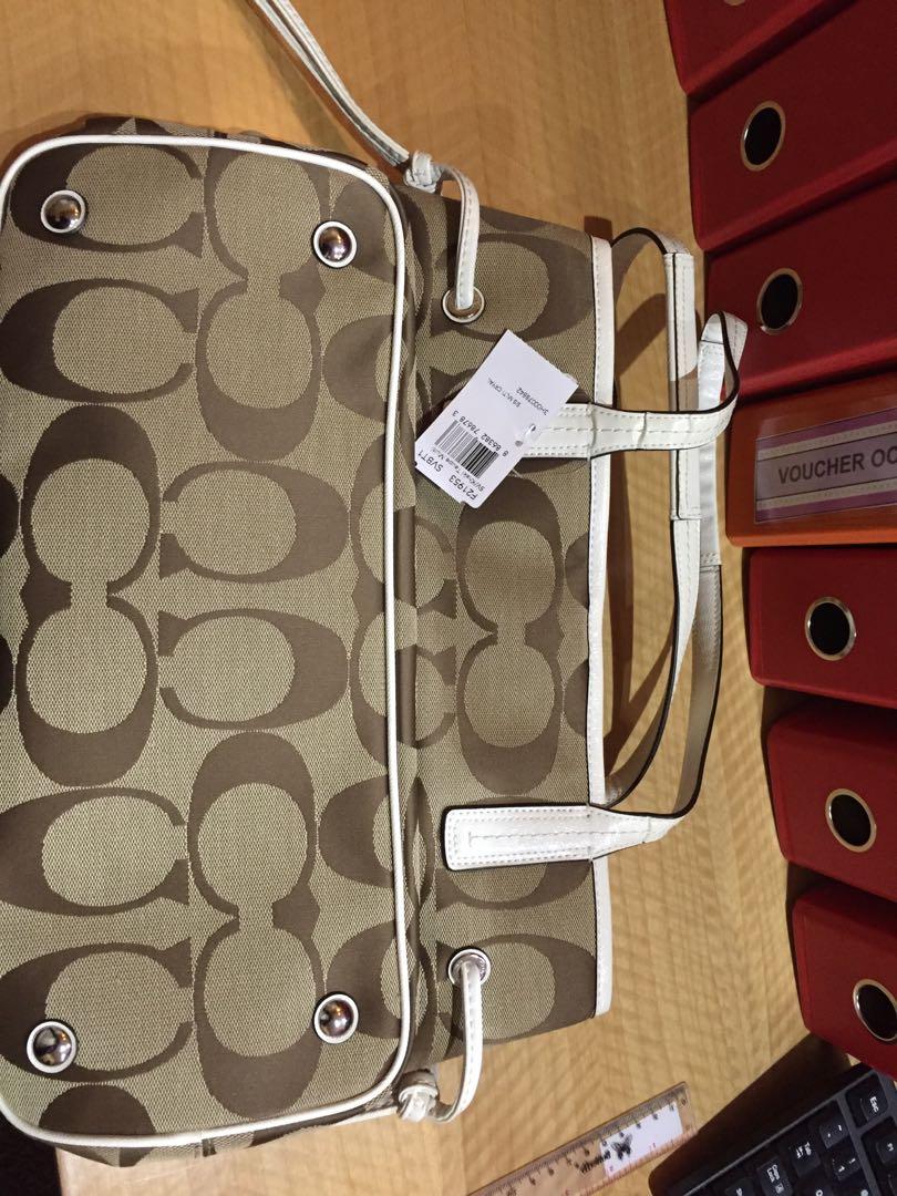 Tas Coach Signature Stripe PVC Large Carryall Khaki