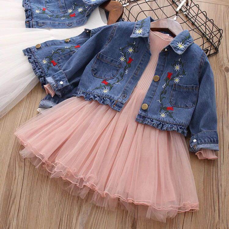 eb3fe47baee Two piece set girl Denim Tulle dress size 90-130