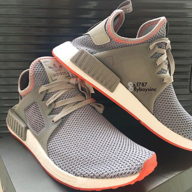 purchase cheap 5fb68 4e54d UK 9 NMD XR1 Grey Three / Solar Red