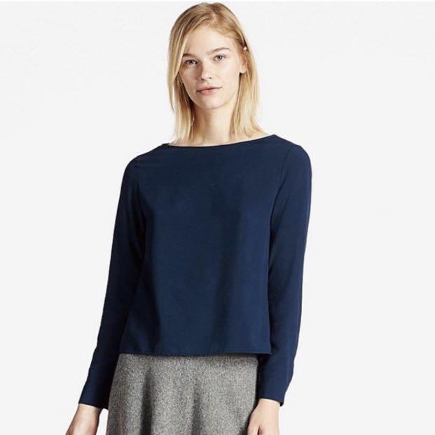 b75abd57f6e10e Uniqlo Navy Blue Rayon Blouse, Women's Fashion, Clothes, Tops on ...