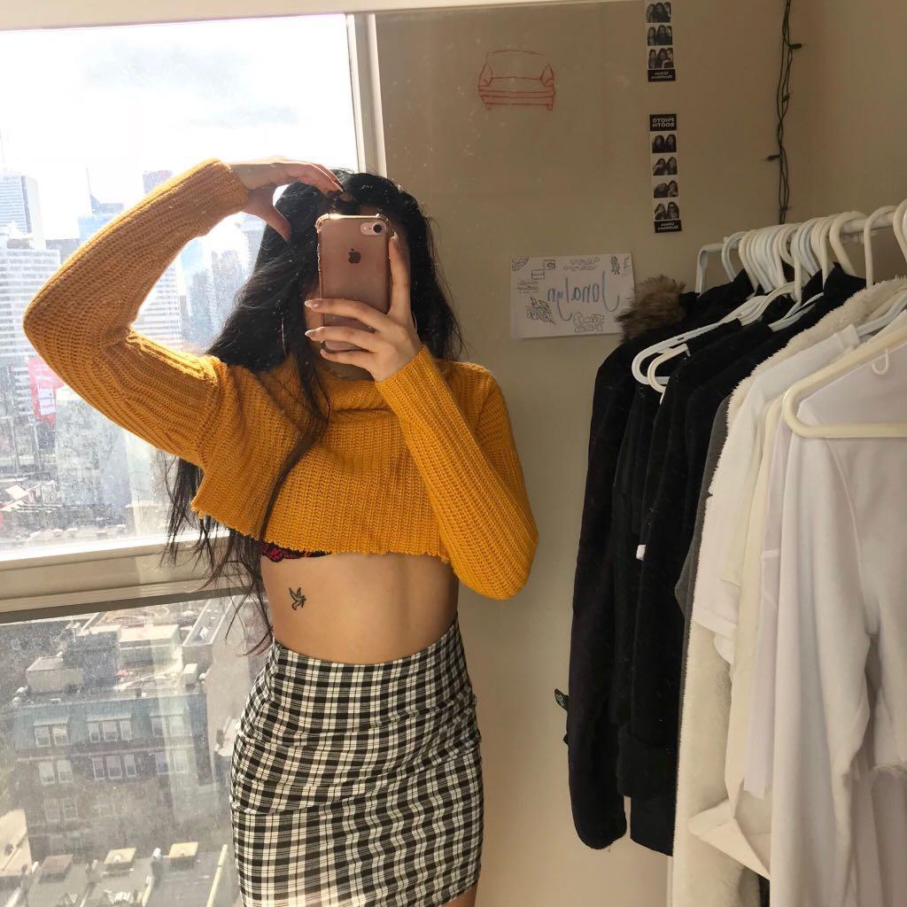 Yellow Cropped Knit Turtleneck