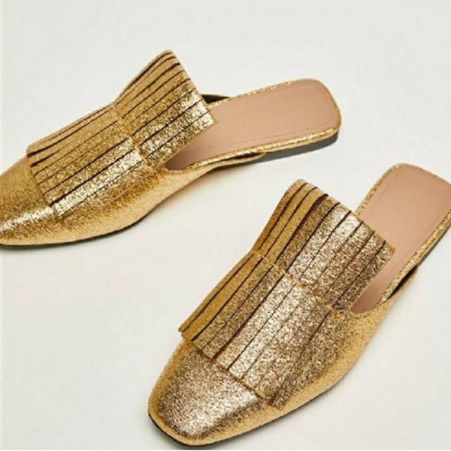 6825ebbdb Zara - bnwt gold fringe slide slip on mules size 37, Women's Fashion ...