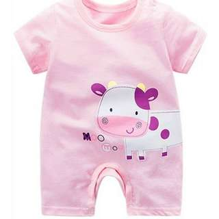 CUTE COW DESIGN SHORT SLEEVE BABY ROMPER - PINK