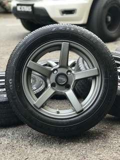Vossen cv3 14 inch sports rim axia tyre 70%. Balik memancing jumpa awek baju kebaya, boss ini rim confirm you nampak bergaya!!!