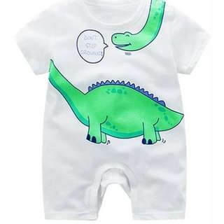 DINOSAUR DESIGN SHORT SLEEVE BABY ROMPER - WHITE