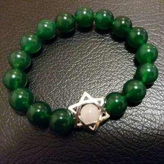 自家作手 天然綠瑪瑙粉晶大衛星手鏈  綠色手鏈