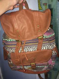 MOSSIMO SUPPLY CO. AZTEC DRAWSTRING TYPE BACKPACK WITH POCKETS