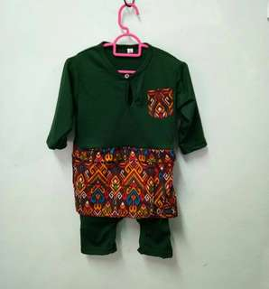 Romper baju melayu baby kain printed songket sarawak raya