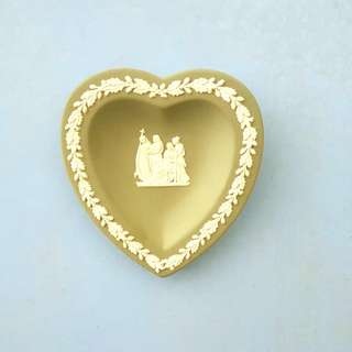 Vintage heart shaped Wedgwood jasperware ring dish, trinket dish