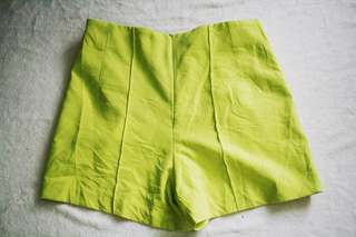 Neon green highwaist shorts