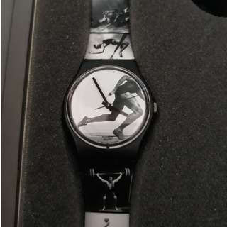 Original Swatch 1996 Olympic Games Swiss Made Black And White Watch New With Box And Paper