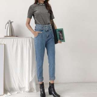 HIGH WAISTED DOUBLE BELT JEANS