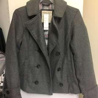 🚚 Lativ. 女裝英倫學院風 雙排扣毛呢大衣外套 短版 辦公 OL必備