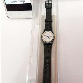 Original Swatch Black Leather Ladies Watch New With Box And Paper