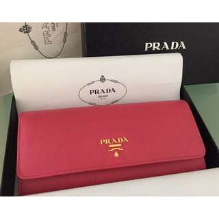 Prada Saffiano Leather Multi-colored Wallet (Peony pink+Begonia pink)