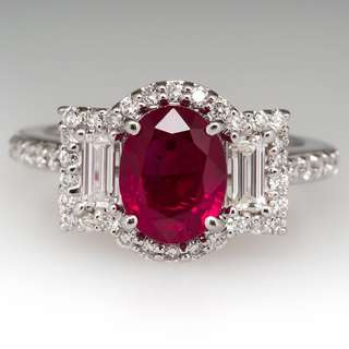 Ruby Ring, 2.5 CARAT RUBY & BAGUETTE DIAMOND RING 18K WHITE GOLD