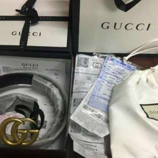 Super sale!!! Authentic Gucci Belt pure calfskin leather black! size 85-105