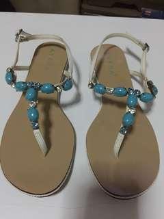 Aveda, White Turquoise, Women Flat Sandal, Size 40