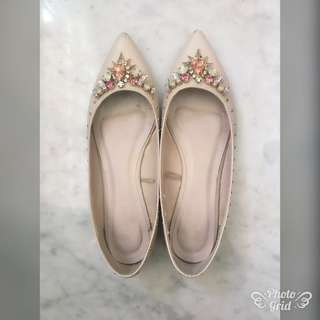 Vincci Flat Shoes with rhinestones