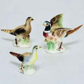 《3pcs》Retro Vintage Figurine Porcelain Birds