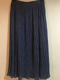 日製古著 深海藍色密百褶垂墜長裙