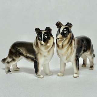 《2pcs》Retro Vintage Figurine Porcelain Dogs