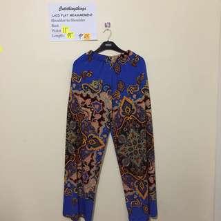 Plus Sized Blue Batik Design Palazzo - garterized