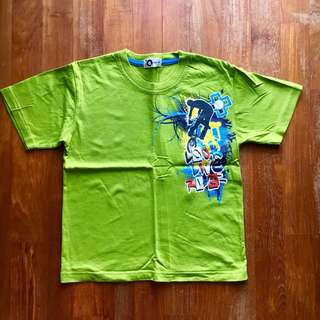 Lime green short-sleeved tee with skateboarding graphic