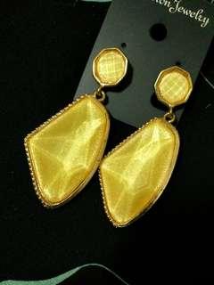 黃玉金沙耳環
