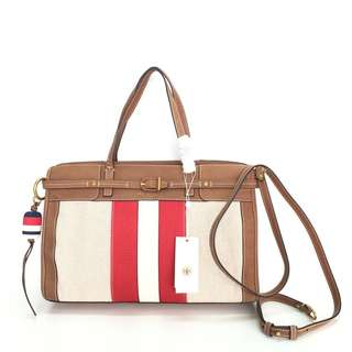 Tory Burch Striped Canvas & Suede Satchel