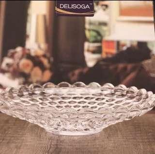 水晶透明玻璃盤 水果裝飾盤