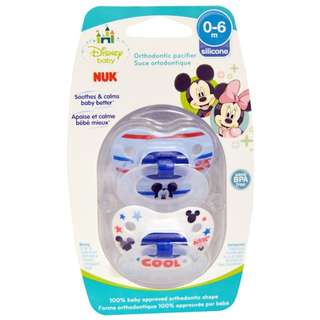 IN STOCK NUK, Disney Baby, Mickey Mouse Orthodontic Pacifier, 0-6 Months, 2 Pacifiers