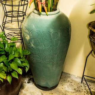 Large Painted Clay Plant Jar