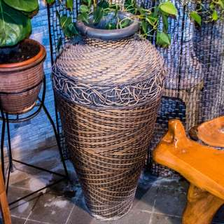 Large Rattan-wrapped Plant Clay Jar