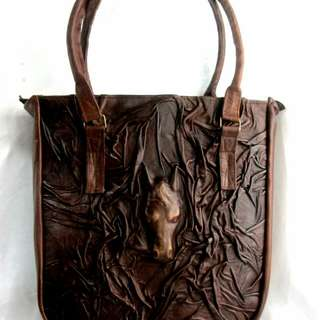 Handmade leather tote bag 3D horse head figure