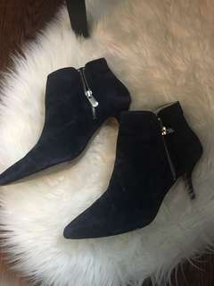 Adrienne Vittadini Navy suede point-toe booties