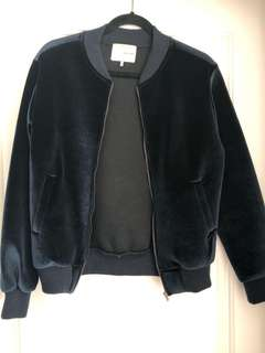 Oak + Fort Blue Velvet Bomber