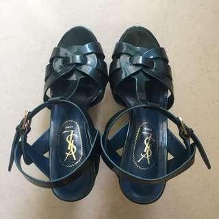 YSL Tribute Low Heels in Dark Teal (Premium Quality)