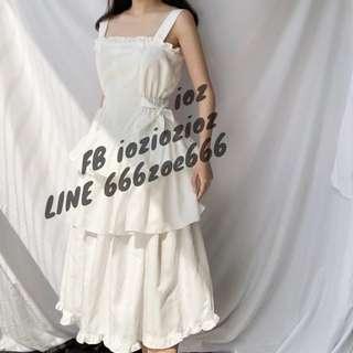 ioz 法式小眾 甜美復古無袖白蛋糕裙 洋裝