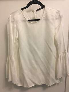 Zara White Silk Blouse