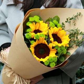 Fresh Flower Bouquet Anniversary Birthday Flower Gifts Graduation Roses Sunfowers Baby Breath -  84277     38