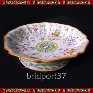 "Chinese Pedestal Octagonal Dish 7-1/8"" 晚清粉彩瓷"