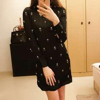🚚 👗ZARA 黑色高貴典雅氣質珍珠洋裝