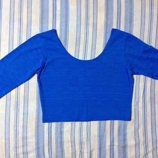 Blue Long Sleeves Low back Crop Top