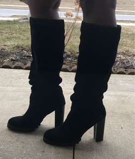 Real Suede Knee Length Boots