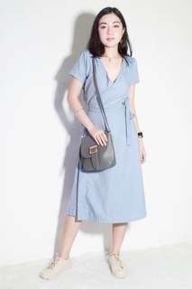 Blue denim-like Wrap Dress